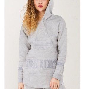 Adidas | Gray Hoodie Sweatshirt Three Stripes